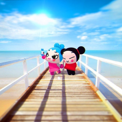 🤳🏼 Is this photo real or fake? 😱 Do you think that Ring Ring and Pucca really don't get along that bad? Leave a ❤️ in the comments if you are #TeamPucca or a 💙 if you are #TeamRingRing  #pucca #ringring #cartoon #selfie #summer #summer2021