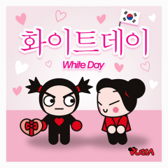 🇰🇷 Today is White Day in Korea! 🇰🇷 Garu has a very special gift to Pucca to reciprocate the chocolates she gave him for Valentine's Day. Can you guess what is it?   💝 What would you give Pucca if you were Garu? 🎁  #pucca #garu #love #puccastore #whiteday #korea #culture #korean